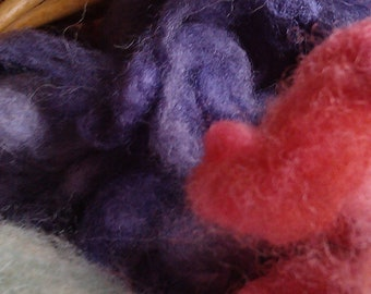 NORFOLK HORN uncarded wool  50g Naturally Dyed Dolly Mixture: logwood, woad, cochineal