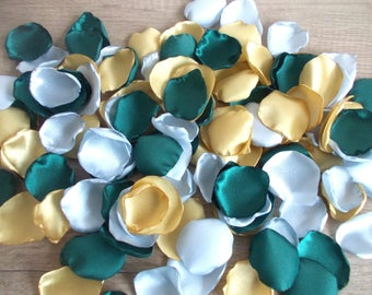 Light Gold, Silver and Hunter Green Satin Rose Petals, Silk Wedding Rose Petals, Flower Petals,  Artificial Petals, Fabric petals