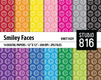 Smiley Faces Pattern - Digital Paper for Scrapbooking, Cardmaking, Papercrafts #04011429