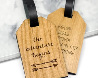 Personalised Luggage Tag, Travel Gift, Travel Quote, Luggage Labels, Personalized Luggage Tag, Travelling Gift, Adventure Begins Luggage Tag