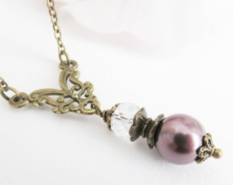 Purple pearl necklace, vintage style plum necklace, victorian style jewelry, gift for her, brass and bronze jewelry