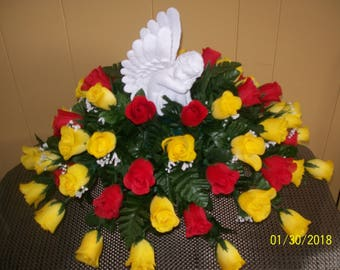 Headstone Saddle, Mother's Day Saddle, Spring Saddle Arrangement, Cemetery Flowers