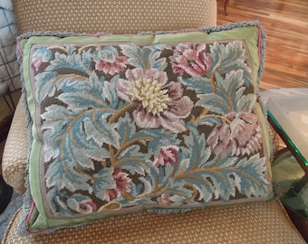 Vintage Aubusson Tapestry Pillow / Floral Tapestry Pillow / Sateen Green Fringe