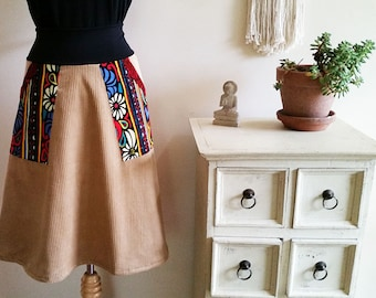 Corduroy Skirt. Aline Winter Skirt. Widewale Corduroy. Printed Cordruoy Red Pockets. Stretch Band. Australian Made. High Waisted Swing Skirt