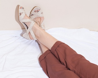 Summer Heels, Heels, Shoes, Leather Sandals, Sandal with Heels, Mid Heel, Elegant Sandals, Day Heels, Fay // Free Shipping