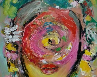 Abstract figurative unique original painting, Woman portrait, Frau malerei, Modern art, Red - green painting, Female face and lips