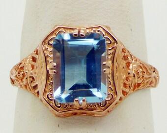Edwardian revival filigree ring in rose gold over solid sterling silver