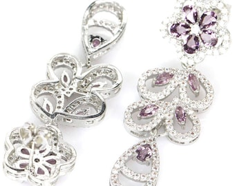Sterling Silver Purple Sapphire Gemstone Drop Earrings With AAA CZ Accents