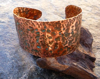Copper cuff bracelet Copper jewelry Hammered copper Metalwork jewelry Verdigris jewelry Rustic jewelry Cuff bracelet
