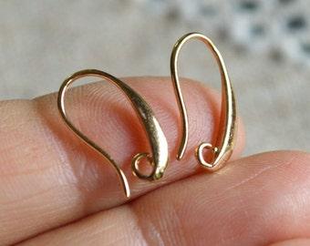 20pcs 10 Pair Earhooks Gold Finished Brass 16mm Fishhook French Hook 20 Gauge Earhook Earwire