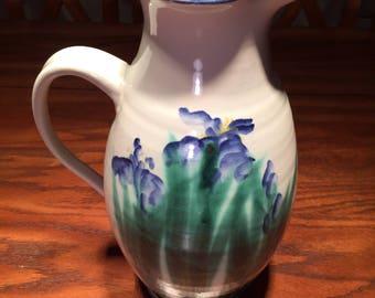 Pottery Pitcher, Pottery Floral Vase, Hand Thrown Pottery, Vintage Pottery Pitcher, Iris Motif Pottery, Floral Pitcher, Garden Pottery