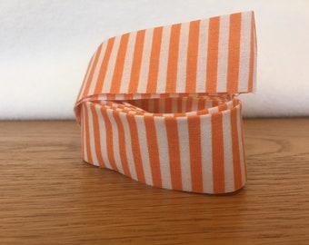 Cotton Quilt Binding- Orange & White Candy Stripe