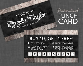 Punch card reward card black business card chalkboard punch card reward card business card fashion consultant card black and wood colourmoves