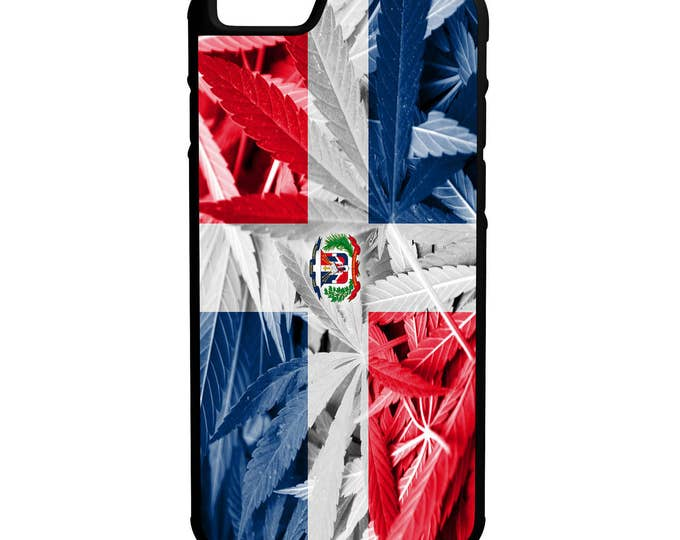 Dominican Republic Weed Flag iPhone Galaxy Note LG HTC Protective Rubber Phone Case
