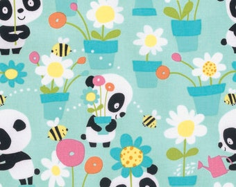 Garden Party - Aqua - Pandas by David Walker from Free Spirit - Pandas Fabrics - Fabric by Yard - David Walker Fabric - Free Spirit Fabrics
