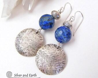 Lapis Sterling Silver Earrings, Handmade Sterling Jewelry, Lapis Earrings, Blue Stone Earrings, Lapis Lazuli Jewelry, Silver & Blue Earrings