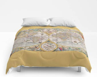 duvet cover or comforter without inserts bedroom home decor old map ancient world gift christmas kids vintage