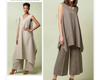 Vogue Pattern V1550 Misses' Pullover Tunic with Uneven Hem and Wide-Leg Pants