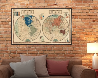 Japanese Map of the world  - Antique world map print