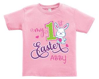 My 1st Easter - Personalized with Name. Girl version. Easter outfit. / Boys / Girls / Infant / Toddler / Youth sizes