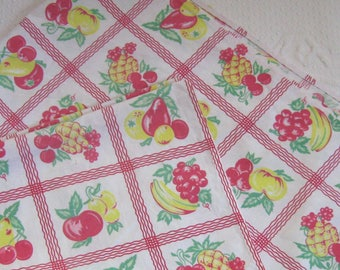 Vintage Fruit Tablecloth  . fruit tablecloth .  Kitchen Tablecloth