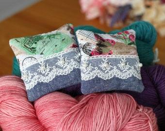 Lavender Sachets, Set of 2 Organic  Lavender Pillows, Dried Lavender for Yarn Storage