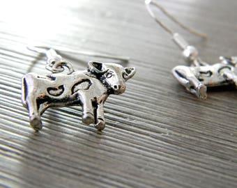 Cow Earrings Dangle Earrings Silver Color