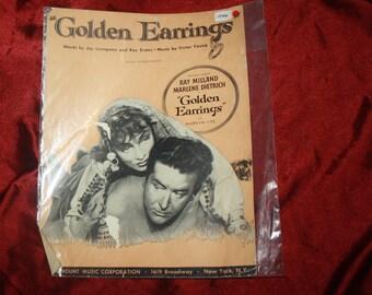 1946 sheet music Golden Earring Ray Milland  Marlene Dietrich  sheet music