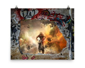 Wall Graffiti & Motocross Fantasy Hunting Poster.