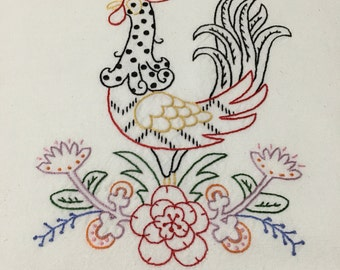 Rooster Embroidered Tea Towel