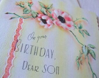 "VINTAGE ""On Your Birthday, Dear Son""  greeting card"