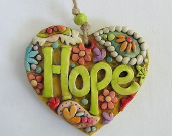 Hope Ornament, Paisley Heart Decoration, Boho Paisley Hope Ornament, Gift Exchange, Stocking Stuffer