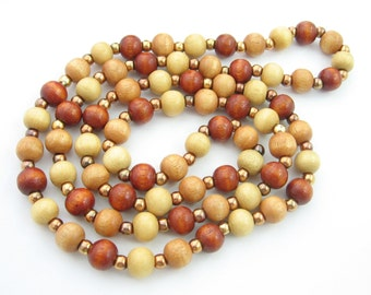 "BEADS in BROWNS Wooden Vintage Necklace Natural Tones Goldtone 28"" Length"