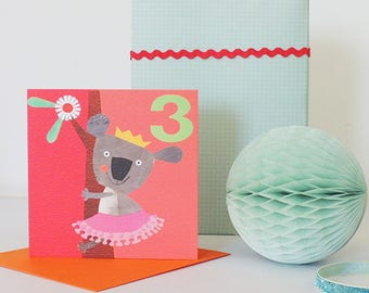 Third Birthday Koala Card | 3rd birthday | girls birthday card | koala lovers | children's cards
