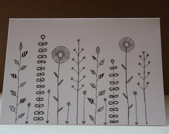 Flowers Blooms and Seeds Detailed Doodle Greetings Card A6