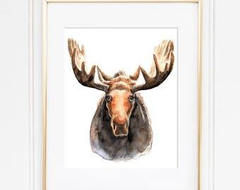 Moose Watercolor Print - Art print | Nursery Art | Woodland Theme | Animal print | Moose painting | Animal Painting | Rustic Art |