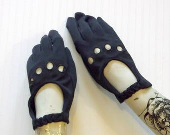 Vintage 60's Navy Wrist Gloves with Circle Cutouts
