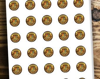 """Hogwarts Logo 25mm 1"""" Printable Digital Collage Sheet Instant Download For Cabochons"""
