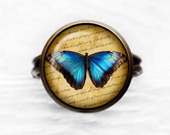 Blue Butterfly Adjustable Ring