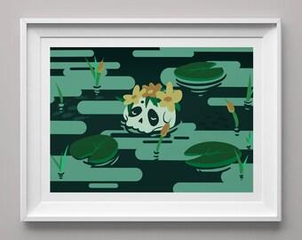 Flower Skull Art Print Download - Printable Floral Skull Wall Art - Skull and Seascape Wall Art Decor