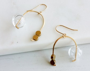 MOBILE EARRINGS | modern jewelry, gold earrings, dangle earrings, bubbles, glass earrings, minimalist jewelry |
