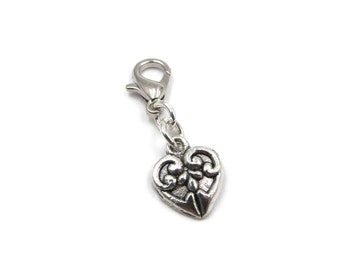Silver Plated Filigree Heart Zipper Pull - Clip-On Charm