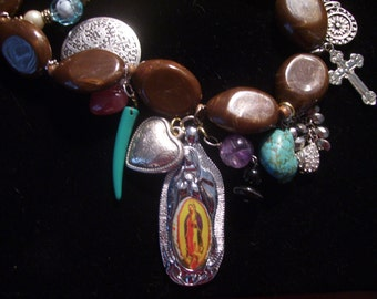 Mother Guadalupe/Virgin Mary Multi Vintage  Charm Necklace