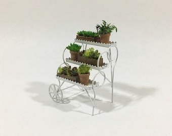 Vintage Metal Cart Tiered Plant Stand and Potted Planters Miniature Dollhouse Flower Cart