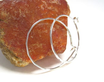 Medium Hammered Silver Hoop Earrings, Textured Hoops, Medium Sterling Silver Hoop Earrings