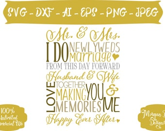 Wedding SVG - Wedding Subway Art SVG - Newlyweds - Wedding Clipart - Mr. and Mrs. SVG - Files for Silhouette Studio/Cricut Design Space