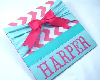 Baby Memory Book Girl Photo Album Picture Scrapbook Pink Teal Chevron Baby Book Pregnancy Journal 4x6 5x7 8x10