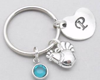 Hen heart initial keyring | hen keychain | chicken keychain | chicken keyring | hen gift | chicken gift | letter | birthstone