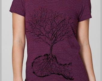 Graphic Tee American Apparel Women's T Shirt Dust Shirt Nature Tree Bird Shirt S, M, L, XL 8 COLORS