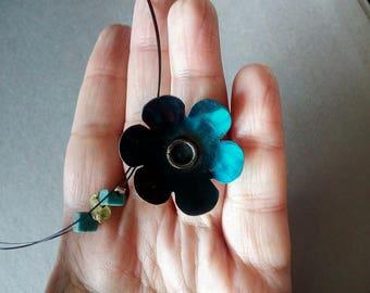 Blue flower necklace Enamel flower jewelry Flower gift Blue necklace Natural necklace Natural jewelry Gift for women Gift for her Mom gift